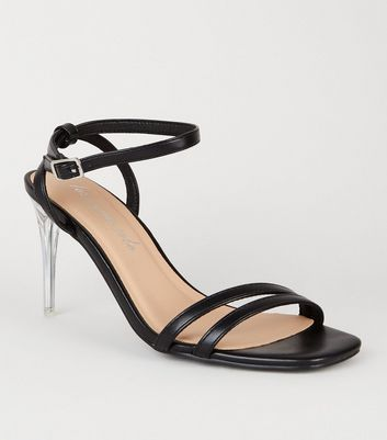 Black Leather-Look 2 Strap Clear