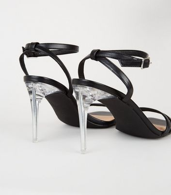 shop for Black Leather-Look 2 Strap Clear Stiletto Heels New Look at Shopo