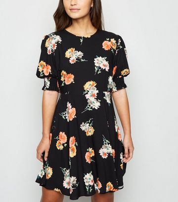Petite Black Floral Tie Waist Mini Dress