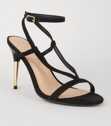 Black Suedette V Strap Stiletto Sandals