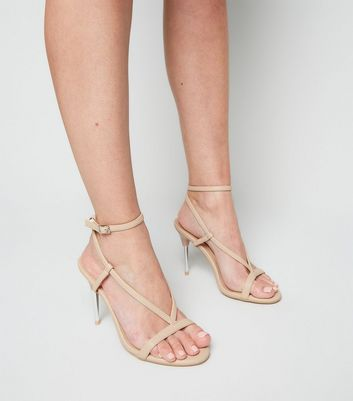 shop for Cream Leather-Look V Strap Stiletto Sandals New Look at Shopo