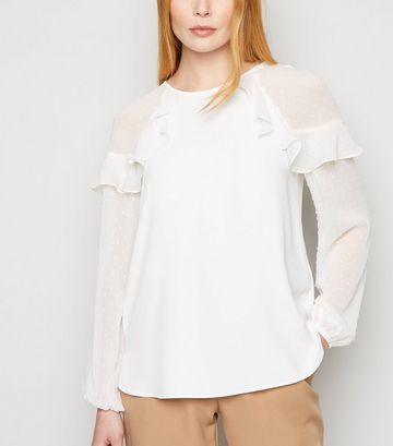 Off White Chiffon Spot Ruffle Sleeve Blouse