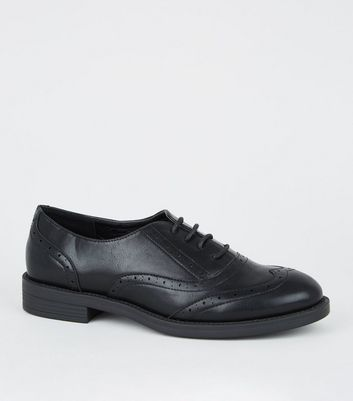 Girls Black Leather-Look Brogues | New Look