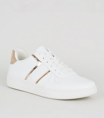 Girls White and Rose Gold Trainers