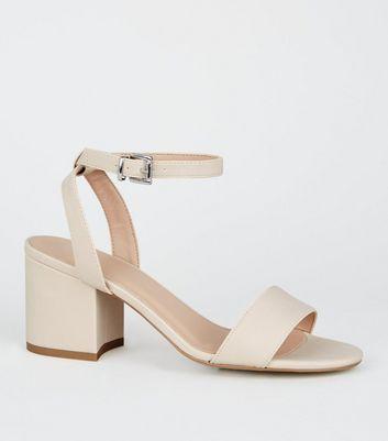 Girls Cream 2 Part Block Heel Sandals