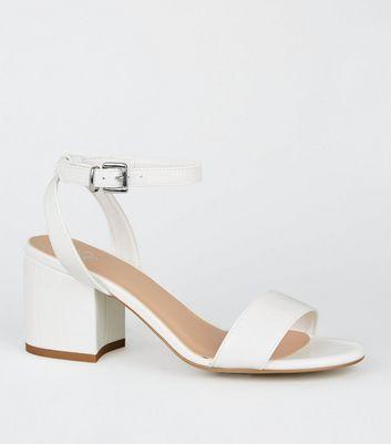 Girls White Faux Croc Block Heel
