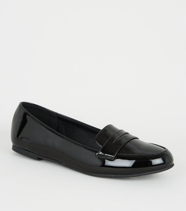 Girls Black Patent Loafers | New Look