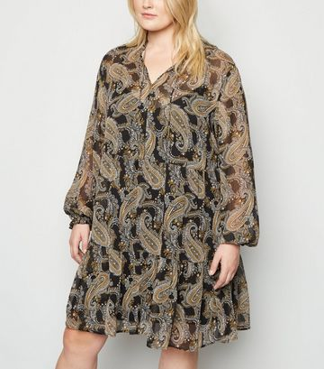 Curves Black Paisley Print Smock Dress