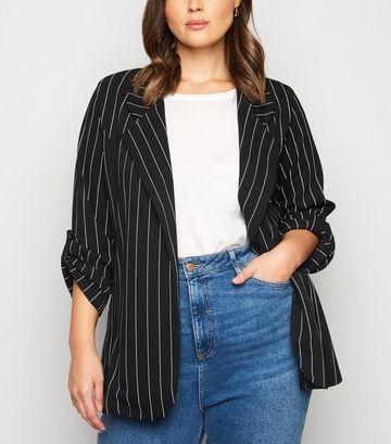 Curves Black Pinstripe Jersey Blazer