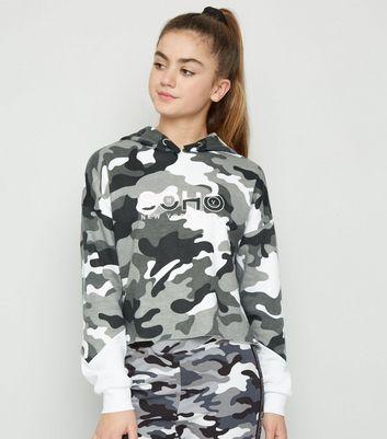 Girls Sweat gris clair à capuche et à slogan Soho et motif camouflage Ajouter à la Wishlist Supprimer de la Wishlist