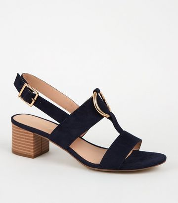 Navy Suedette Ring Block Heel Sandals