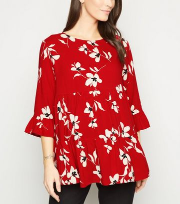 Maternity Red Floral Tiered Peplum Blouse