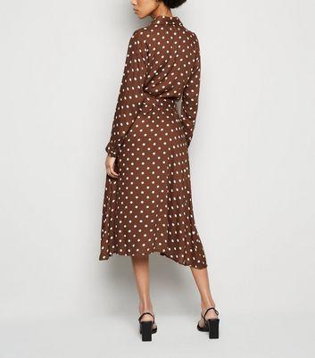 Innocence Brown Spot Shirt Midi Dress New Look