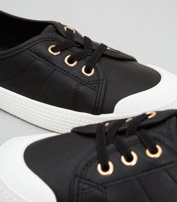 Black Leather-Look Slip On Trainers