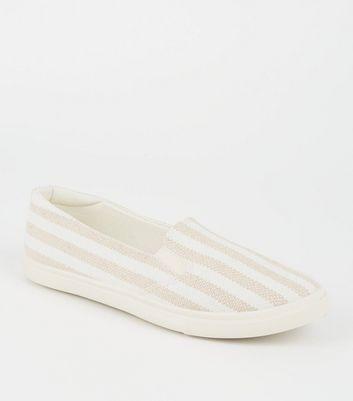 White Canvas Stripe Slip On Trainers