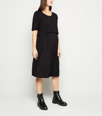 Maternity Black Short Sleeve Midi Nursing Dress