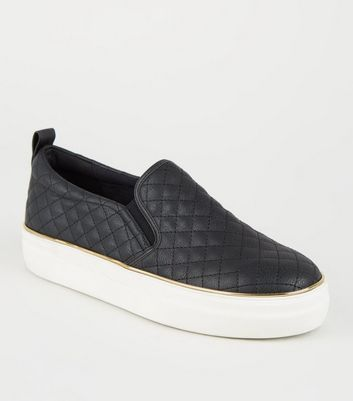 Black Leather-Look Quilted Slip On