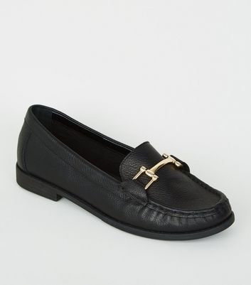 Black Leather Bar Front Loafers | New Look