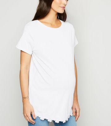 Maternity White Flower Hem T-Shirt