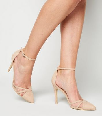 shop for Pale Pink Suedette Strappy Mesh Stiletto Court Shoes New Look at Shopo