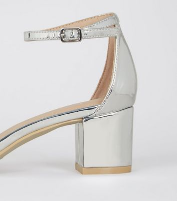 Girls Silver Patent Clear Strap Block