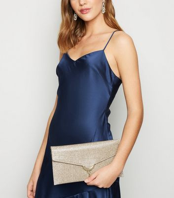 shop for Gold Glitter Clutch Bag New Look Vegan at Shopo