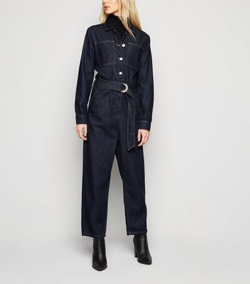 NA-KD Navy Denim Belted Jumpsuit