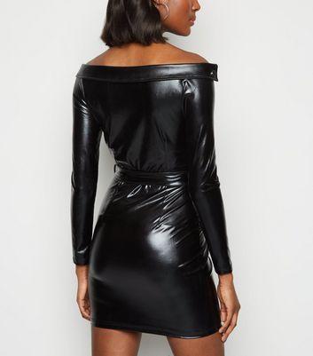 Parisian Black Leather-Look Biker Bodycon Dress New Look