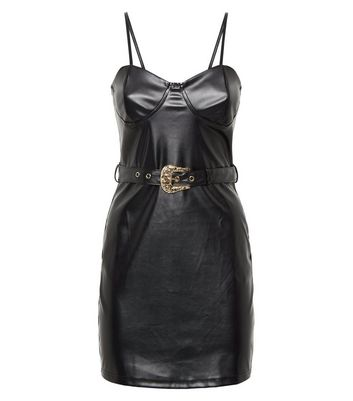 Parisian Black Leather-Look Belted Bodycon Dress New Look