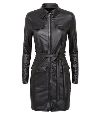 Parisian Black Leather-Look Collared Dress New Look