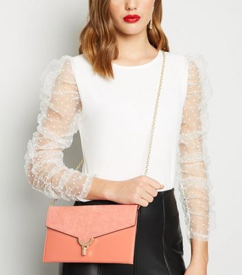 shop for Coral Suedette and Leather-Look Clutch New Look Vegan at Shopo
