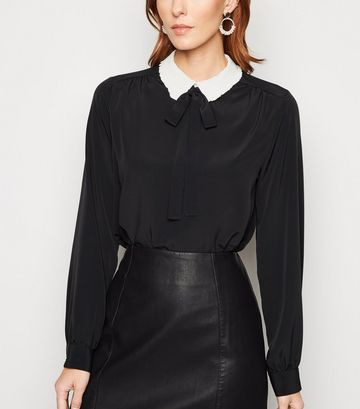 Black Frill Trim Contrast Collar Shirt