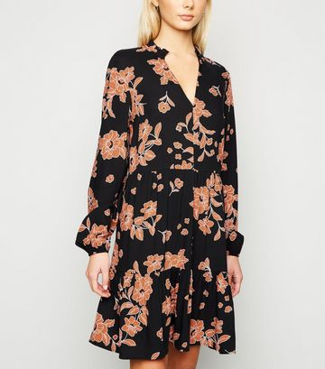 Black Floral Frill Trim Smock Dress