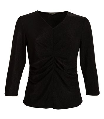 Port Boutique Black Glitter Ruched Top New Look