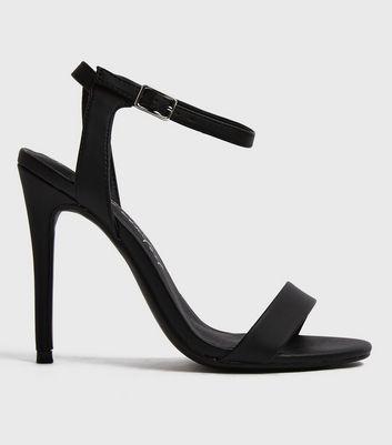 Black Leather-Look 2 Part Stiletto