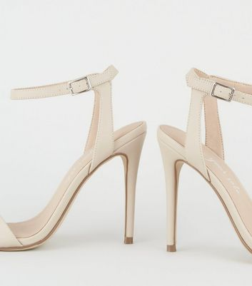 shop for Cream Leather-Look 2 Part Stiletto Sandals New Look Vegan at Shopo