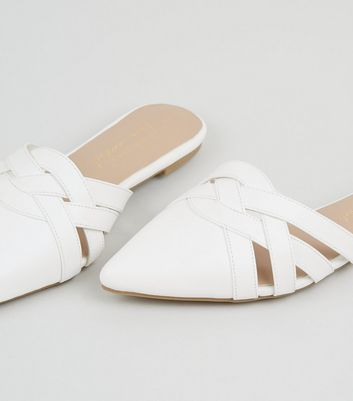 White Leather-Look Lattice Front Mules