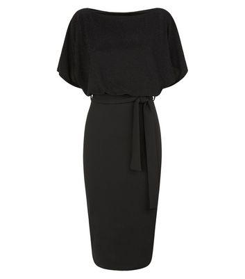 Missfiga Black Glitter Batwing Midi Dress New Look