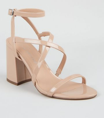 Pale Pink Patent Strappy Flared Heel Sandals