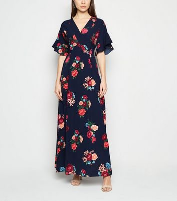 robe longue portefeuille bleue new look
