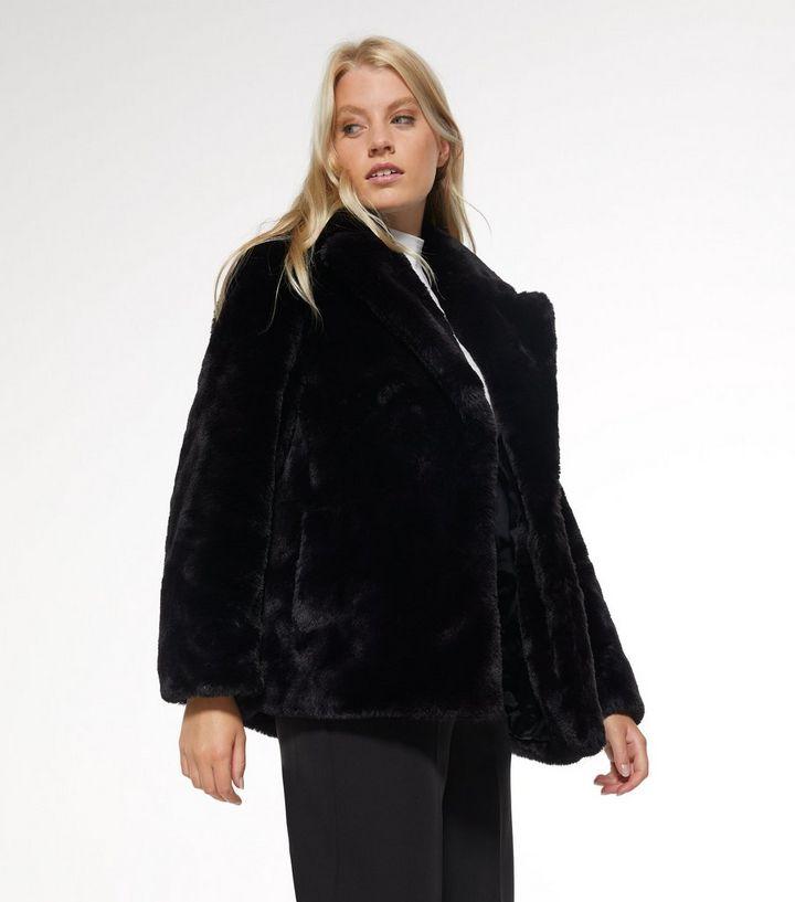 Black Faux Fur Coat New Look, Large Size Faux Fur Coats