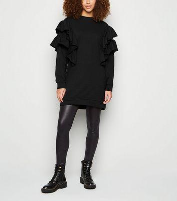 Influence Black Frill Trim Sweatshirt Dress New Look