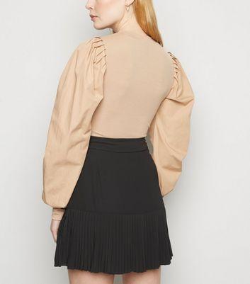 NA-KD Black Pleated Chiffon Mini Skirt New Look