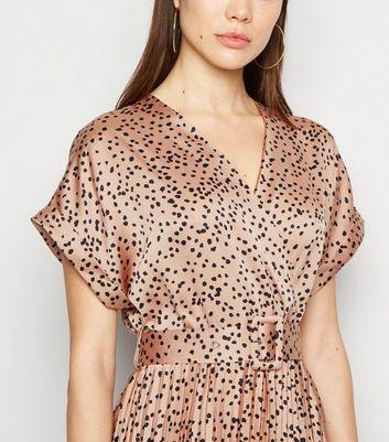 New Look Go Satin Pleated Midi Dress Vestito Casual Donna