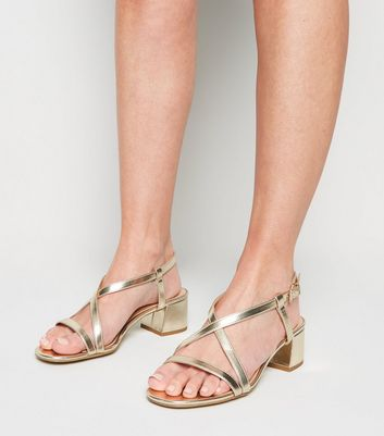 Wide Fit Gold Strappy Flared Block Heel