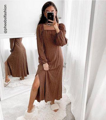 Brown Spot Long Sleeve Midi Dress