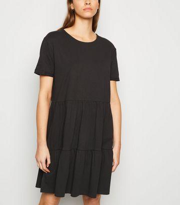 Black Short Sleeve Smock Dress