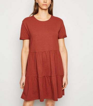 Rust Short Sleeve Smock Dress