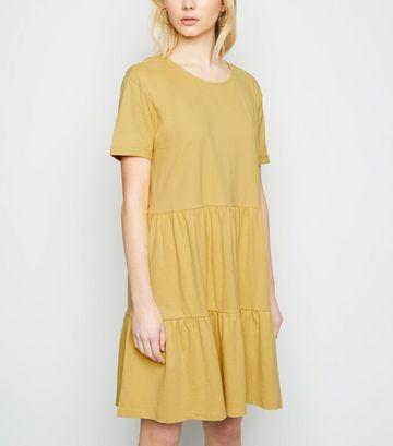 Pale Yellow Short Sleeve Smock Dress