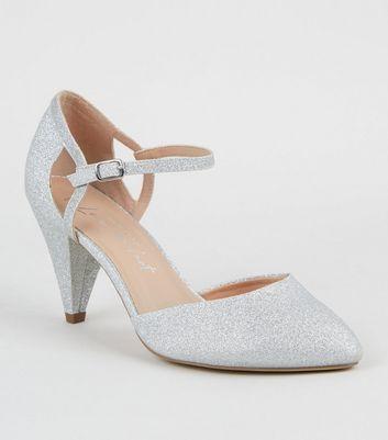 Wide Fit Silver Glitter Cone Heel Court